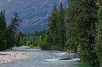 Stehekin River viewed from Harlequin Bridge in Stehekin Valley, North Cascades National Park, Washington State.