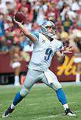 Detroit Lions quarterback Matthew Stafford (9) at work in first half action against the Washington Redskins at FedEx Field in Landover, Maryland on Sunday, September 22, 2013.<br /> Credit: Ron Sachs / CNP