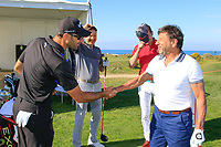 Rocco Forte meets Alvaro Quiros (ESP) during the Pro-Am ahead of the Rocco Forte Sicilian Open played at Verdura Resort, Agrigento, Sicily, Italy 08/05/2018.<br /> Picture: Golffile | Phil Inglis<br /> <br /> <br /> All photo usage must carry mandatory copyright credit (&copy; Golffile | Phil Inglis)