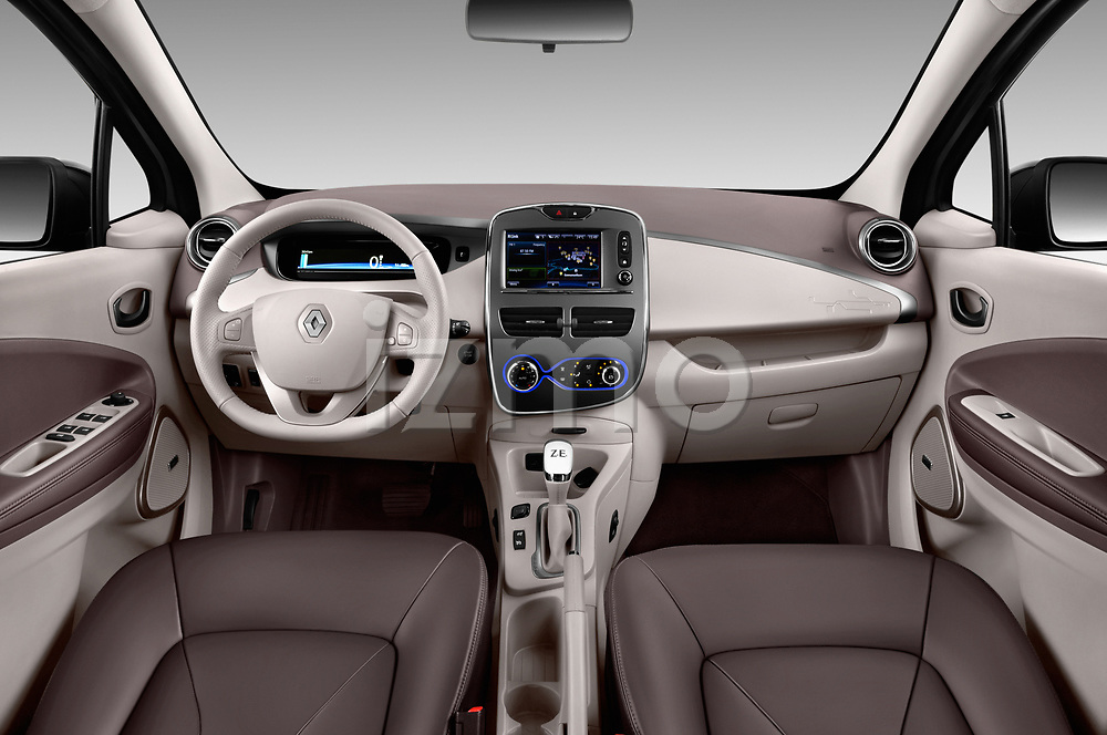 Stock photo of straight dashboard view of a 2017 Renault ZOE Bose Edition 5 Door Hatchback