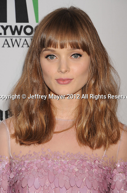 BEVERLY HILLS, CA - OCTOBER 22: Bella Heathcote arrives at the 16th Annual Hollywood Film Awards Gala presented by The Los Angeles Times held at The Beverly Hilton Hotel on October 22, 2012 in Beverly Hills, California.