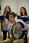 January 15, 2012; Colin Campbell plays the Bodhran (Irish drum) during rehearsal. The University of Notre Dame Folk Choir held a concert for the Monastic and local community during their 2012 retreat at The Abbey of Gethsemani, Trappist, Kentucky. Photo by Barbara Johnston/University of Notre Dame