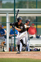 Pittsburgh Pirates Jordan George (99) during a minor league Spring Training game against the Toronto Blue Jays on March 24, 2016 at Pirate City in Bradenton, Florida.  (Mike Janes/Four Seam Images)