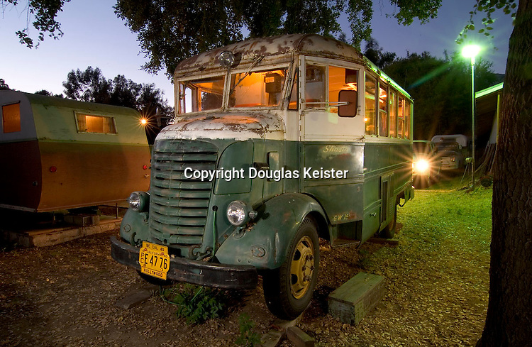In 1940, movie-mogul Howard Hughes commissioned eight mobile dressing rooms for his company, RKO Studios (now Paramount). This 19-foot vehicle, with 15 feet of usable interior space is built on a heavy-duty GMC chassis that was originally designed for military vehicles. Indeed, its instrument panel has a decidedly industrial look to it. The driver&rsquo;s and passenger&rsquo;s seats are the same as those used in the Ford Tri-Motor airplane, and the headlights are equipped with side blackout lights. The vehicle is also equipped with a generator, which provided power when the vehicle was used in remote mountain and desert locations. <br />