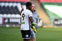 Steve Cooper Head Coach of Swansea City speaks to Jamal Lowe of Swansea City at full time during the pre season friendly match between Swansea City and Forest Green Rovers at the Liberty Stadium in Swansea, Wales, UK. Tuesday 01 September 2020