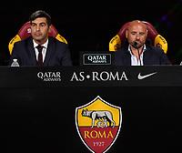 AS Roma new coach Paulo Fonseca and AS Roma Sport Director Gianluca Petrachi attend the press conference <br /> Roma 08/07/2019 Centro Sportivo Trigoria <br /> Press Conference <br /> Football Calcio Serie A 2019/2020 <br /> Photo Andrea Staccioli / Insidefoto