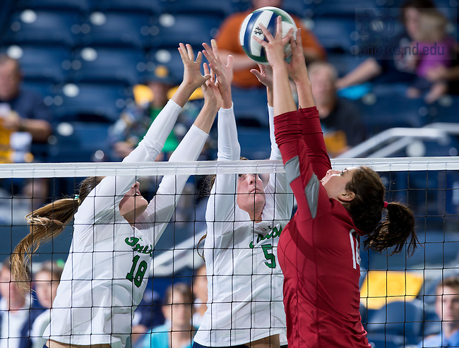 Sep. 5, 2014; 2014 Volleyball, Katie Higgins (18) Sydney Kuhn (5).