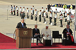 Israel's PM Netanyahu speaks at the Welcoming Ceremony for Pope Francis in Ben Gurion Airport
