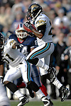 26 November 2006: Jacksonville Jaguars cornerback Dee Webb (23) intercepts a pass against the Buffalo Bills at Ralph Wilson Stadium in Orchard Park, NY. The Bills defeated the Jaguars 27-24. Mandatory Photo Credit: Ed Wolfstein Photo<br />