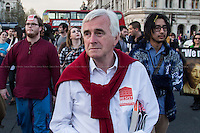John McDonnell MP (British Labour Member of Parliament for Hayes and Harlington).<br /> <br /> London, 15/04/2015. Today, the &quot;March For Homeless 2015&quot; was held in Central London. <br /> <br /> &quot;Stickers, Posters, Banners, Russell Brand, Occupy Statues, Class War&hellip; An Invisible Electoral Campaign&quot;.<br /> <br /> For more pictures and info about this event please click here: http://bit.ly/1H71ECg