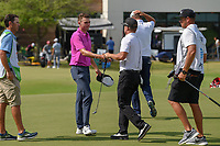 Andrew Wise (USA) shakes hands with Brian Gay (USA) following round 3 of the AT&amp;T Byron Nelson, Trinity Forest Golf Club, at Dallas, Texas, USA. 5/19/2018.<br /> Picture: Golffile | Ken Murray<br /> <br /> <br /> All photo usage must carry mandatory copyright credit (&copy; Golffile | Ken Murray)