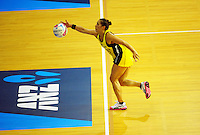 Liana Leota tries to keep the ball in play during the ANZ Netball Championship match between the Central Pulse and Waikato Bay Of Plenty Magic at TSB Bank Arena, Wellington, New Zealand on Monday, 30 March 2015. Photo: Dave Lintott / lintottphoto.co.nz