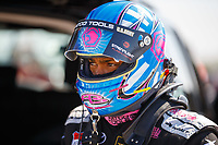 Oct 14, 2017; Ennis, TX, USA; NHRA top fuel driver AntronBrown during qualifying for the Fall Nationals at the Texas Motorplex. Mandatory Credit: Mark J. Rebilas-USA TODAY Sports