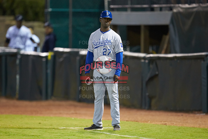 Derrick Robinson (27) of the Burlington Royals coaches first base during the Appalachian League playoff game against the Pulaski Yankees at Calfee Park on September 1, 2019 in Pulaski, Virginia. The Royals defeated the Yankees 5-4 in 17 innings. (Brian Westerholt/Four Seam Images)