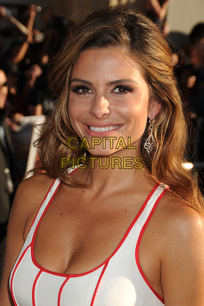 "Maria Menounos.Premiere of ""Captain America: The First Avenger"" held at The El Capitan Theatre in Hollywood, California, USA..July 19th, 2011.headshot portrait white red black striped stripes sleeveless cleavage .CAP/ADM/BP.©Byron Purvis/AdMedia/Capital Pictures."