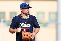 18 September 2012: France Florian Peyrichou is seen smiling during Team France practice, at the 2012 World Baseball Classic Qualifier round, in Jupiter, Florida, USA.