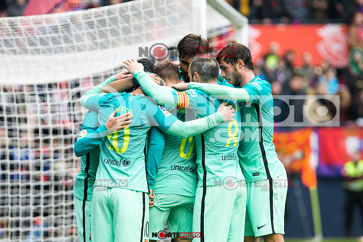 FC Barcelona's Leo Messi , Jordi Alba, Luis Suarez , Denis Suarez  during the match of La Liga between Club Atletico Osasuna and Futbol Club Barcelona at Sadar Stadium in Pamplnoa , Spain. December 10, 2016. (ALTERPHOTOS/Rodrigo Jimenez) /NORTEPHOTO.COM