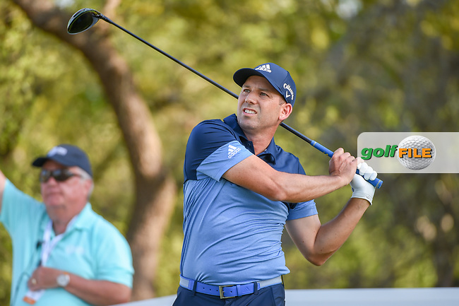 Sergio Garcia (ESP) watches his tee shot on 12 during day 1 of the WGC Dell Match Play, at the Austin Country Club, Austin, Texas, USA. 3/27/2019.<br /> Picture: Golffile   Ken Murray<br /> <br /> <br /> All photo usage must carry mandatory copyright credit (© Golffile   Ken Murray)