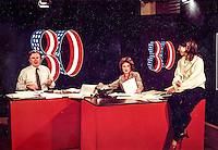 Channel 4 Newsroom Anchor Betsey Bruce and group during Election Nite coverage  at KMOX-TV in St. Louis, Missouri ...
