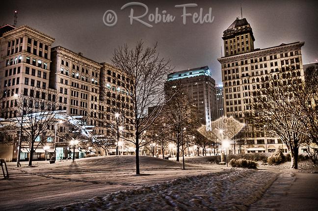 Dave Hall Plaza, snowy night