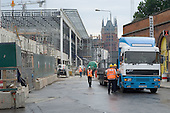 Construction work for the Channel Tunnel rail terminal at  St.Pancras station, central London.