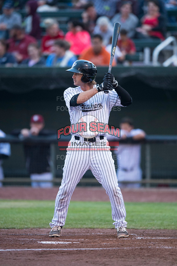 Idaho Falls Chukars first baseman Reed Rohlman (19) at bat during a Pioneer League game against the Billings Mustangs at Melaleuca Field on August 22, 2018 in Idaho Falls, Idaho. The Idaho Falls Chukars defeated the Billings Mustangs by a score of 5-3. (Zachary Lucy/Four Seam Images)