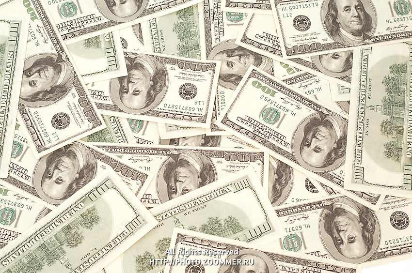 Texture of many Dollars on white background