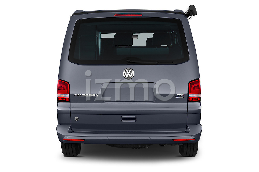 Straight rear view of a 2014 Volkswagen CALIFORNIA COMFORTLINE EDITION BLUEMOTION 4 Door Minivan Rear View  stock images