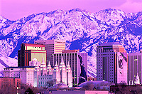 Evening skyline of Salt Lake City, Utah with Salt Lake Temple