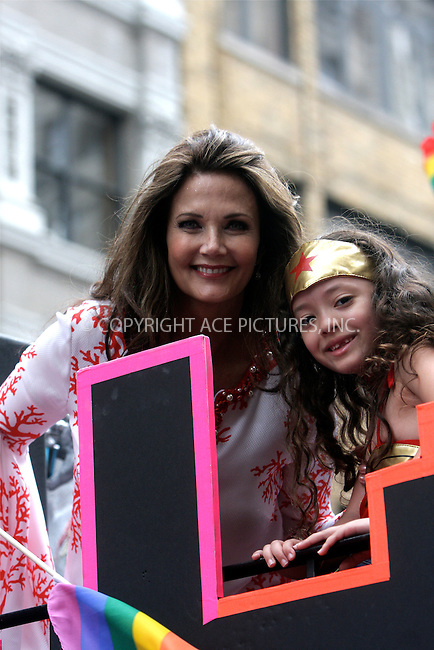 WWW.ACEPIXS.COM . . . . .  ....June 26 2011, New York City....Actress Lynda Carter during the Gay Pride parade on June 26, 2011 in New York City. The parade was celebrating the legalization of same-sex marriage in New York which was signed into law by Governor Cuomo on Friday 062411.....Please byline: NANCY RIVERA- ACEPIXS.COM.... *** ***..Ace Pictures, Inc:  ..Tel: 646 769 0430..e-mail: info@acepixs.com..web: http://www.acepixs.com