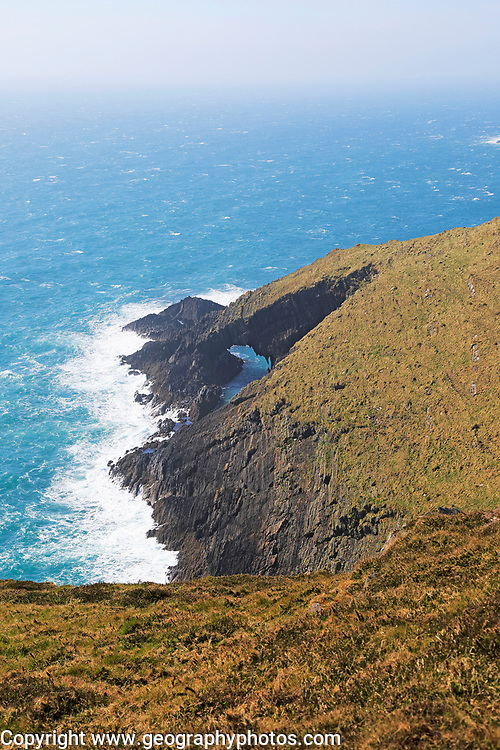 Natural arch in cliffs, Cape Clear Island, County Cork, Ireland, Irish Republic