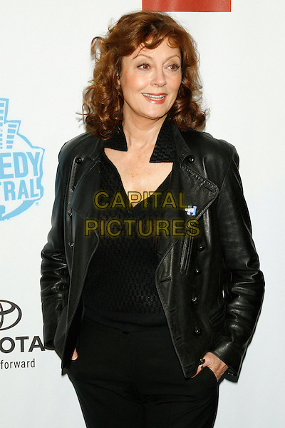 "SUSAN SARANDON.""Night of Too Many Stars"" - a night of comedy to benefit Autism Speaks and to raise awareness of the disorder.at the Beacon Theater, New York, NY, USA..April 13th, 2008 .half length black leather jacket hands in pockets.CAP/LNC/TOM.©TOM/LNC/Capital Pictures"