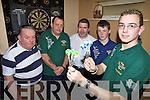 DARTS: Members of the new Kerry darts team getting in some practice at Sheila O'Neill's Bar in Killorglin on Thursday, l-r; Tony Horgan (Cahersiveen), Richard O'Connor (Killorglin), Mossey Coffey (Cahersiveen), Finnin Brosnan (Killorglin), Dale McCarthy (Milltown).