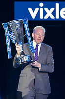 Boris Becker walks out with the Winners Trophy during the NiTTO ATP World Tour 2017 FINAL's Day at the O2, London, England on 19 November 2017. Photo by Andy Rowland.