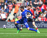 Southampton's Wesley Hoedt (right) battles with Chelsea's Olivier Giroud (left) <br /> <br /> Photographer David Horton/CameraSport<br /> <br /> The Premier League - Southampton v Chelsea - Saturday 14th April2018 - St Mary's Stadium - Southampton<br /> <br /> World Copyright &copy; 2018 CameraSport. All rights reserved. 43 Linden Ave. Countesthorpe. Leicester. England. LE8 5PG - Tel: +44 (0) 116 277 4147 - admin@camerasport.com - www.camerasport.com