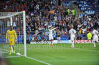 Cardiff City Stadium, Cardiff, South Wales - Tuesday 12th Aug 2014 - UEFA Super Cup Final - Real Madrid v Sevilla - <br /> <br /> &quot;There you go&quot; say's Real Madrid&rsquo;s Christiano Ronaldo as he prepares to celebrate with his team mates after scoring his sides first goal of the match. <br /> <br /> <br /> <br /> <br /> Photo by Jeff Thomas/Jeff Thomas Photography