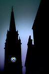 Church Spire silhouetted against a dusky sky