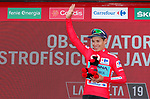 Miguel Angel Lopez Moreno (COL) Astana Pro Team takes over the race leaders Red Jersey at the end of Stage 5 of La Vuelta 2019 running 170.7km from L'Eliana to Observatorio Astrofisico de Javalambre, Spain. 28th August 2019.<br /> Picture: Luis Angel Gomez/Photogomezsport | Cyclefile<br /> <br /> All photos usage must carry mandatory copyright credit (© Cyclefile | Luis Angel Gomez/Photogomezsport)