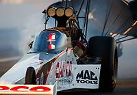 Nov 10, 2017; Pomona, CA, USA; NHRA top fuel driver Steve Torrence during qualifying for the Auto Club Finals at Auto Club Raceway at Pomona. Mandatory Credit: Mark J. Rebilas-USA TODAY Sports