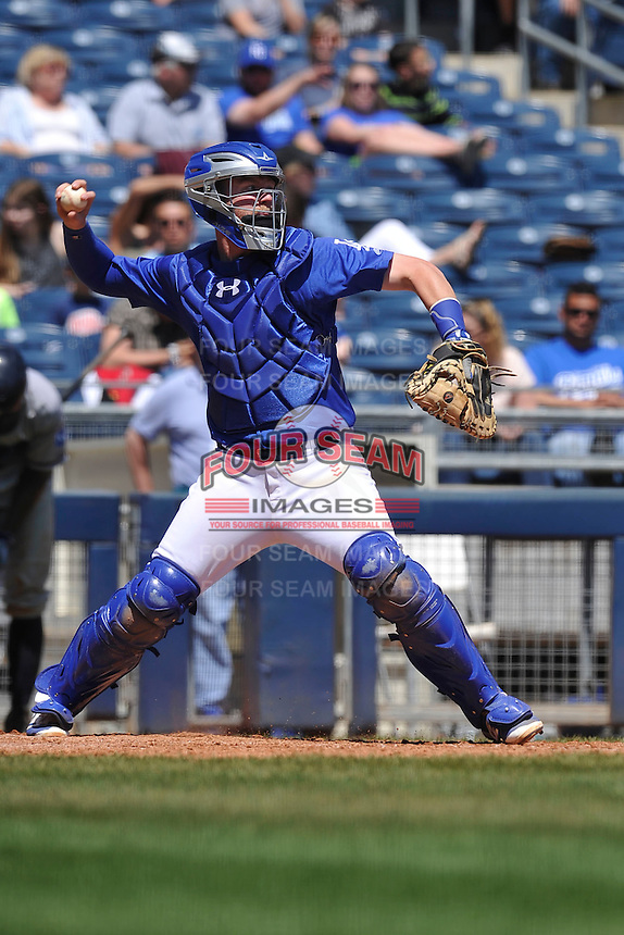 Tulsa Drillers Paul Hoenecke (14) throws to second base during the game against the Northwest Arkansas Naturals at Oneok Stadium on May 1, 2016 in Tulsa, Oklahoma.  Northwest Arkansas won 7-5.  (Dennis Hubbard/Four Seam Images)