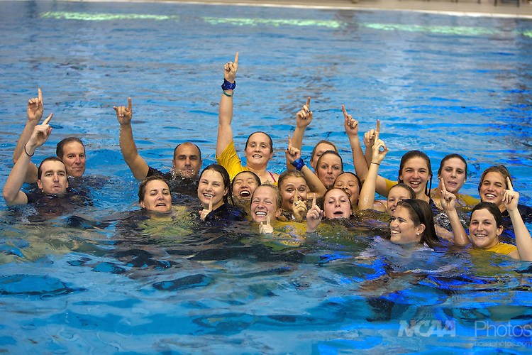 19 MAR 2011:  The women's California Berkley team celebrates in the pool after winning the Division I Women's Swimming and Diving Championship held at the Lee and Joe Jamail Texas Swimming Center on the University of Texas campus in Austin, TX.  Cal Berkeley scored 424 points to win the Division I Women's 2011 National Championship. Rudy Gonzalez/ NCAA Photos