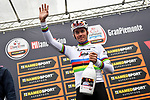 Newly crowned World Champion Mads Pedersen (DEN) Trek-Segafredo at sign on before the start of the world's oldest classic the 100th edition of Milano-Torino running 179km from Magenta to the Basilica at Superga in Turin, Italy. 9th Octobre 2019. <br /> Picture: LaPresse | Cyclefile<br /> <br /> All photos usage must carry mandatory copyright credit (© Cyclefile | LaPresse)