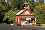The historic and old red one room schoolhouse built 1889, Pine Grove, Amador County, Calif.