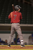 AZL Diamondbacks right fielder Kevin Watson Jr. (7) at bat during an Arizona League game against the AZL Cubs 1 at Sloan Park on June 18, 2018 in Mesa, Arizona. AZL Diamondbacks defeated AZL Cubs 1 7-0. (Zachary Lucy/Four Seam Images)