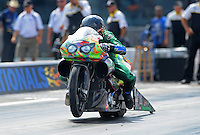Sept. 17, 2010; Concord, NC, USA; NHRA pro stock motorcycle rider Shawn Gann during qualifying for the O'Reilly Auto Parts NHRA Nationals at zMax Dragway. Mandatory Credit: Mark J. Rebilas/