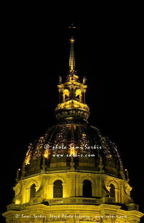 Les Invalides lit up at night, Paris, France.