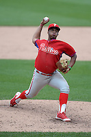 Wesley Rodriguez (44) of George Washington High School in Bronx, New York playing for the Philadelphia Phillies scout team during the East Coast Pro Showcase on July 30, 2014 at NBT Bank Stadium in Syracuse, New York.  (Mike Janes/Four Seam Images)