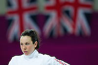 12 AUG 2012 - LONDON, GBR - Samantha Murray (GBR) of Great Britain waits for her next match during the women's London 2012 Olympic Games Modern Pentathlon fencing at The Copper Box in the Olympic Park, in Stratford, London, Great Britain .(PHOTO (C) 2012 NIGEL FARROW)