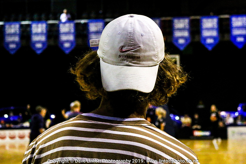 A fan watches the national basketball league match between Cigna Wellington Saints and Southern Huskies at TSB Bank Arena in Wellington, New Zealand on Friday, 19 April 2019. Photo: Mike Moran / lintottphoto.co.nz