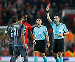 Red card for Eric Bailly of Manchester United and Facundo Roncaglia of Celta Vigo during the Europa League Semi Final 2nd Leg match at Old Trafford Stadium, Manchester. Picture date: May 11th 2017. Pic credit should read: Simon Bellis/Sportimage